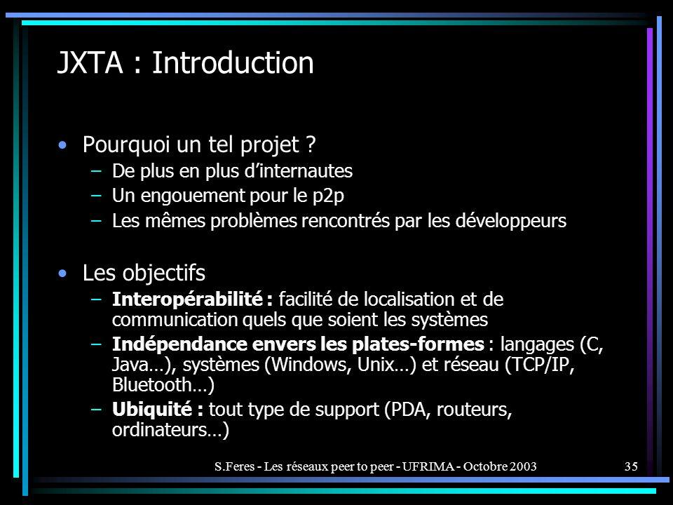 S.Feres - Les réseaux peer to peer - UFRIMA - Octobre 200335 JXTA : Introduction Pourquoi un tel projet .