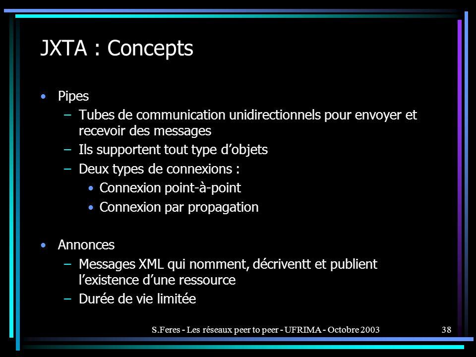 S.Feres - Les réseaux peer to peer - UFRIMA - Octobre 200338 JXTA : Concepts Pipes –Tubes de communication unidirectionnels pour envoyer et recevoir des messages –Ils supportent tout type dobjets –Deux types de connexions : Connexion point-à-point Connexion par propagation Annonces –Messages XML qui nomment, décriventt et publient lexistence dune ressource –Durée de vie limitée