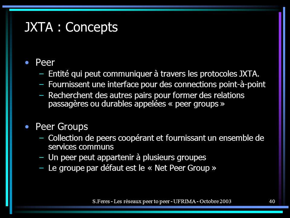 S.Feres - Les réseaux peer to peer - UFRIMA - Octobre 200340 JXTA : Concepts Peer –Entité qui peut communiquer à travers les protocoles JXTA.