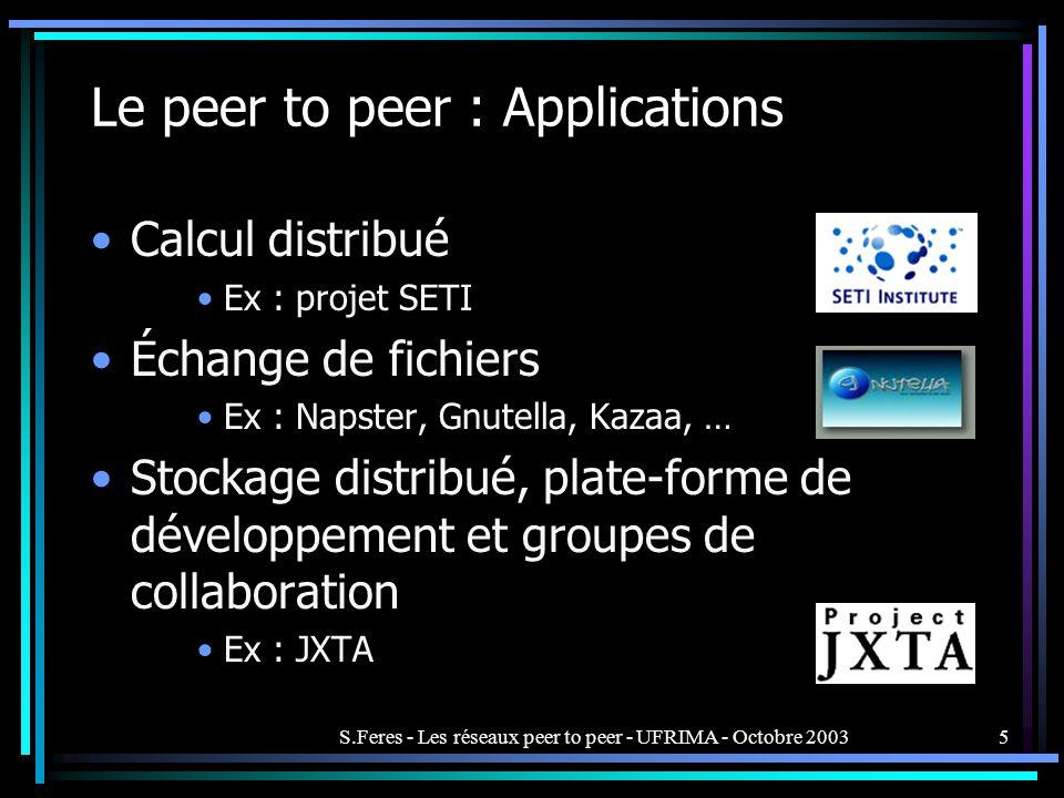 S.Feres - Les réseaux peer to peer - UFRIMA - Octobre 20035 Calcul distribué Ex : projet SETI Échange de fichiers Ex : Napster, Gnutella, Kazaa, … Stockage distribué, plate-forme de développement et groupes de collaboration Ex : JXTA Le peer to peer : Applications