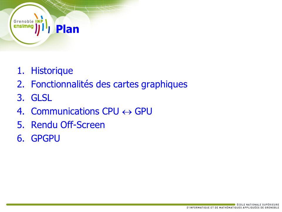 Communications CPU GPU du CPU vers le GPU Pixel Buffer Object UNPACK (PBO) Envoyer une texture au GPU GL_PIXEL_UNPACK_BUFFER_ARB Activer le buffer Remplir le buffer Instancier la texture Type : [STATIC|DYNAMIC|STREAM]_DRAW