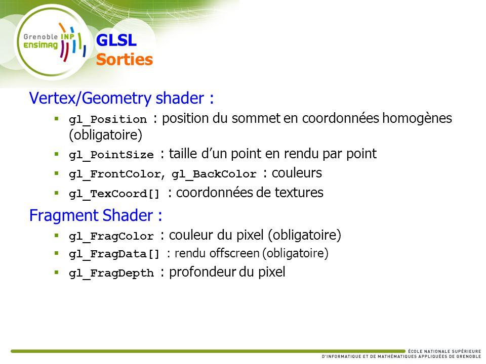 GLSL Sorties Vertex/Geometry shader : gl_Position : position du sommet en coordonnées homogènes (obligatoire) gl_PointSize : taille dun point en rendu