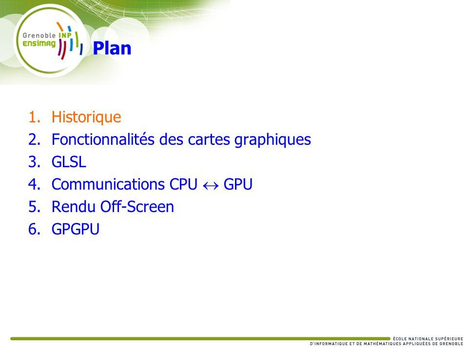 Communications CPU GPU du GPU vers le CPU Pixel Buffer Object PACK (PBO) Récupérer une texture du GPU GL_PIXEL_PACK_BUFFER_EXT Activer le buffer Lire la sortie glReadPixels Mapping Type : [STATIC|DYNAMIC|STREAM]_READ