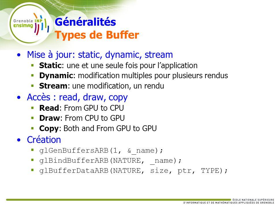 Généralités Types de Buffer Mise à jour: static, dynamic, stream Static: une et une seule fois pour lapplication Dynamic: modification multiples pour