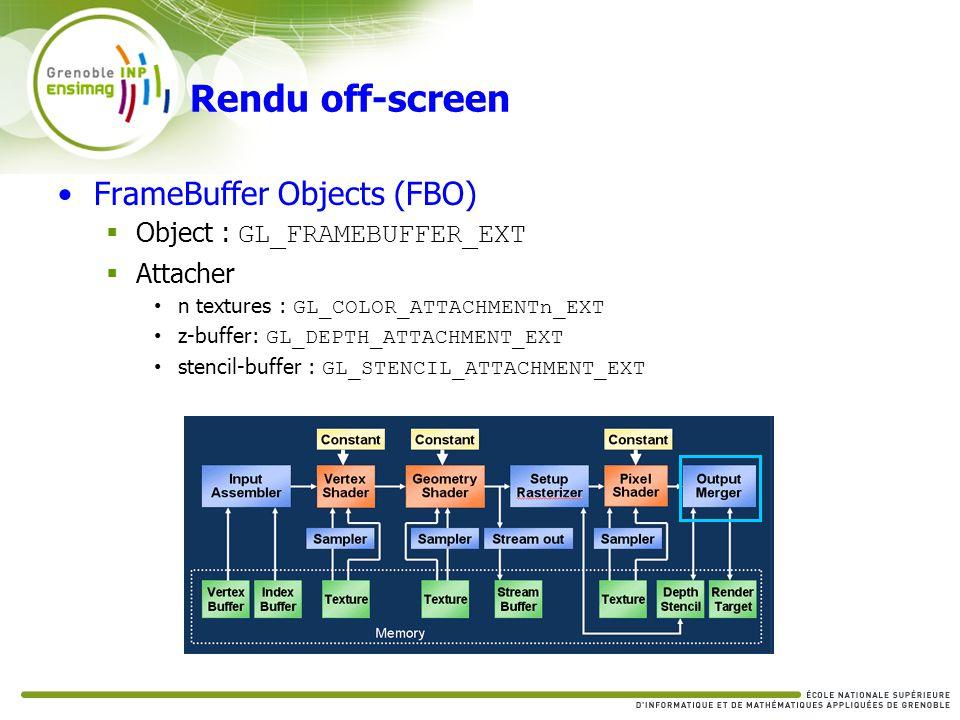 Rendu off-screen FrameBuffer Objects (FBO) Object : GL_FRAMEBUFFER_EXT Attacher n textures : GL_COLOR_ATTACHMENTn_EXT z-buffer: GL_DEPTH_ATTACHMENT_EX