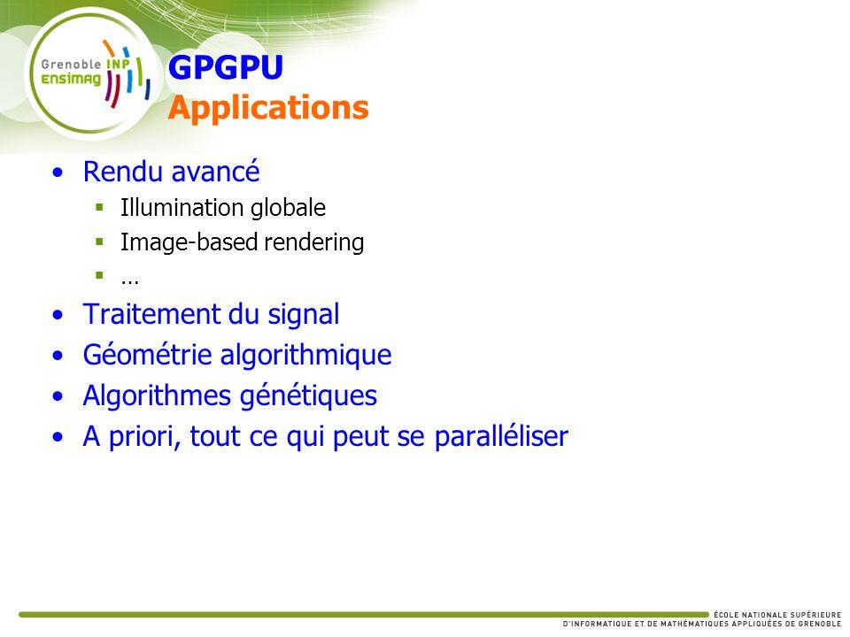 GPGPU Applications Rendu avancé Illumination globale Image-based rendering … Traitement du signal Géométrie algorithmique Algorithmes génétiques A pri
