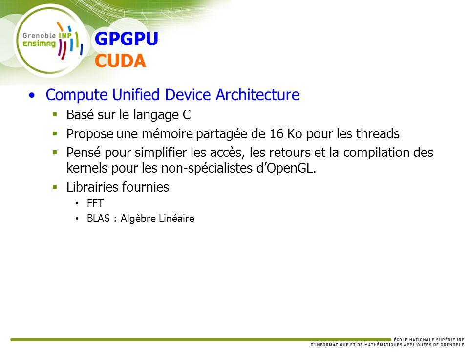 GPGPU CUDA Compute Unified Device Architecture Basé sur le langage C Propose une mémoire partagée de 16 Ko pour les threads Pensé pour simplifier les