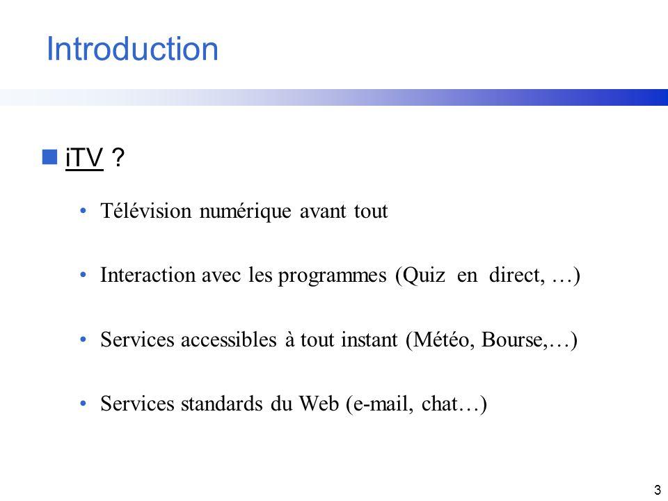 3 Introduction niTV ? Télévision numérique avant tout Interaction avec les programmes (Quiz en direct, …) Services accessibles à tout instant (Météo,