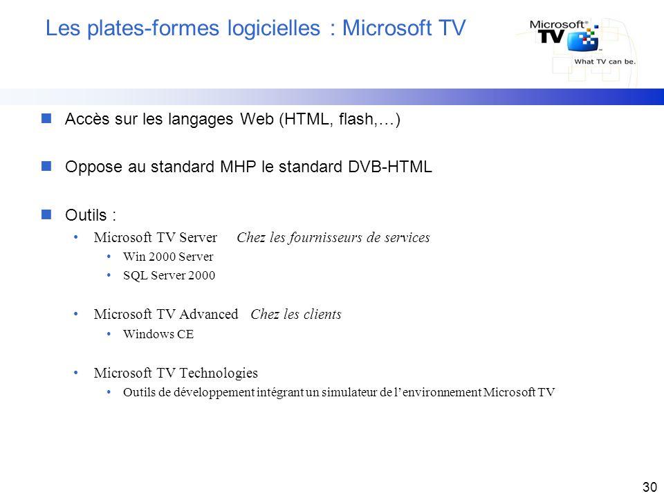 30 Les plates-formes logicielles : Microsoft TV nAccès sur les langages Web (HTML, flash,…) nOppose au standard MHP le standard DVB-HTML nOutils : Mic