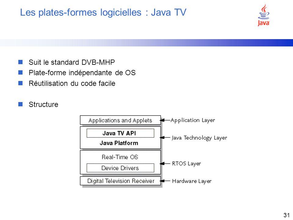 31 Les plates-formes logicielles : Java TV nSuit le standard DVB-MHP nPlate-forme indépendante de OS nRéutilisation du code facile nStructure