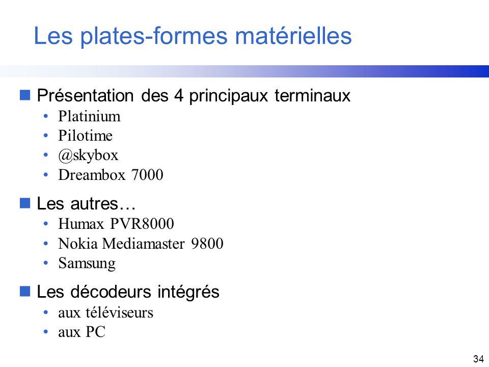 34 Les plates-formes matérielles nPrésentation des 4 principaux terminaux Platinium Pilotime @skybox Dreambox 7000 nLes autres… Humax PVR8000 Nokia Me