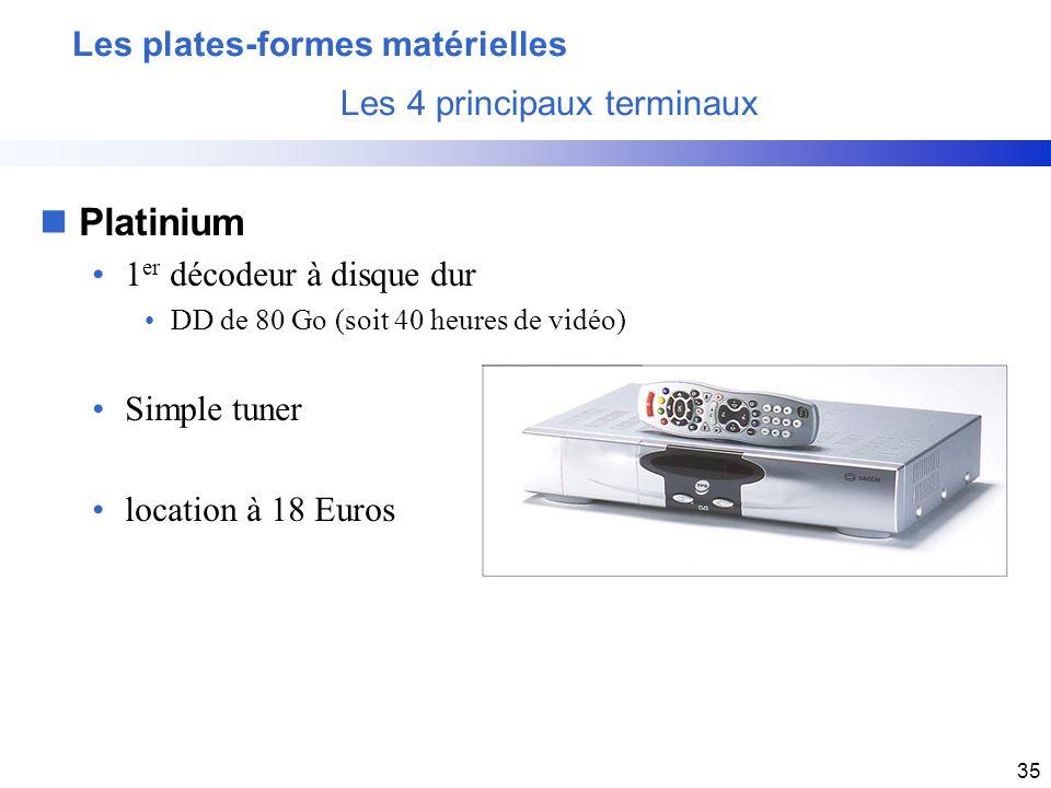 35 Les plates-formes matérielles Les 4 principaux terminaux nPlatinium 1 er décodeur à disque dur DD de 80 Go (soit 40 heures de vidéo) Simple tuner l