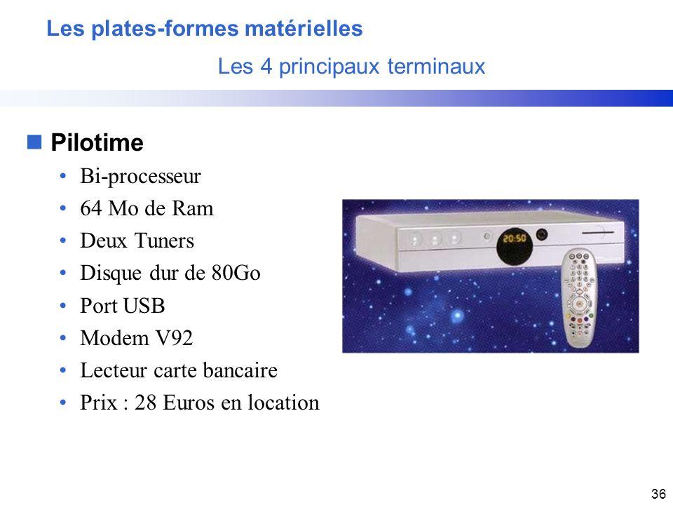 36 nPilotime Bi-processeur 64 Mo de Ram Deux Tuners Disque dur de 80Go Port USB Modem V92 Lecteur carte bancaire Prix : 28 Euros en location Les plate