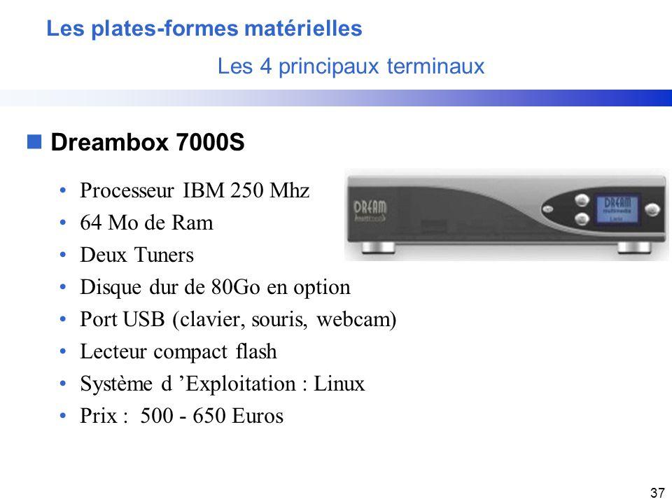 37 nDreambox 7000S Processeur IBM 250 Mhz 64 Mo de Ram Deux Tuners Disque dur de 80Go en option Port USB (clavier, souris, webcam) Lecteur compact fla