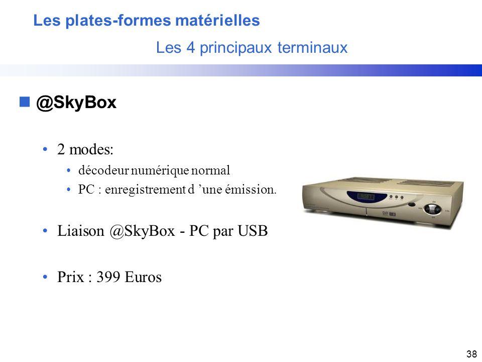 38 n@SkyBox 2 modes: décodeur numérique normal PC : enregistrement d une émission. Liaison @SkyBox - PC par USB Prix : 399 Euros Les plates-formes mat