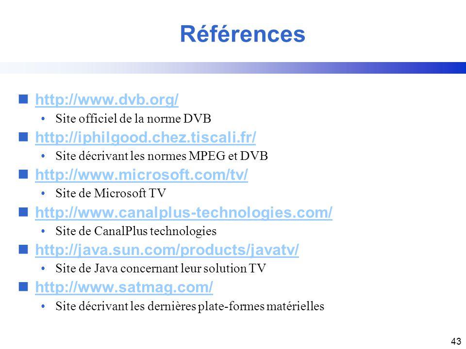 43 nhttp://www.dvb.org/http://www.dvb.org/ Site officiel de la norme DVB nhttp://iphilgood.chez.tiscali.fr/http://iphilgood.chez.tiscali.fr/ Site décr