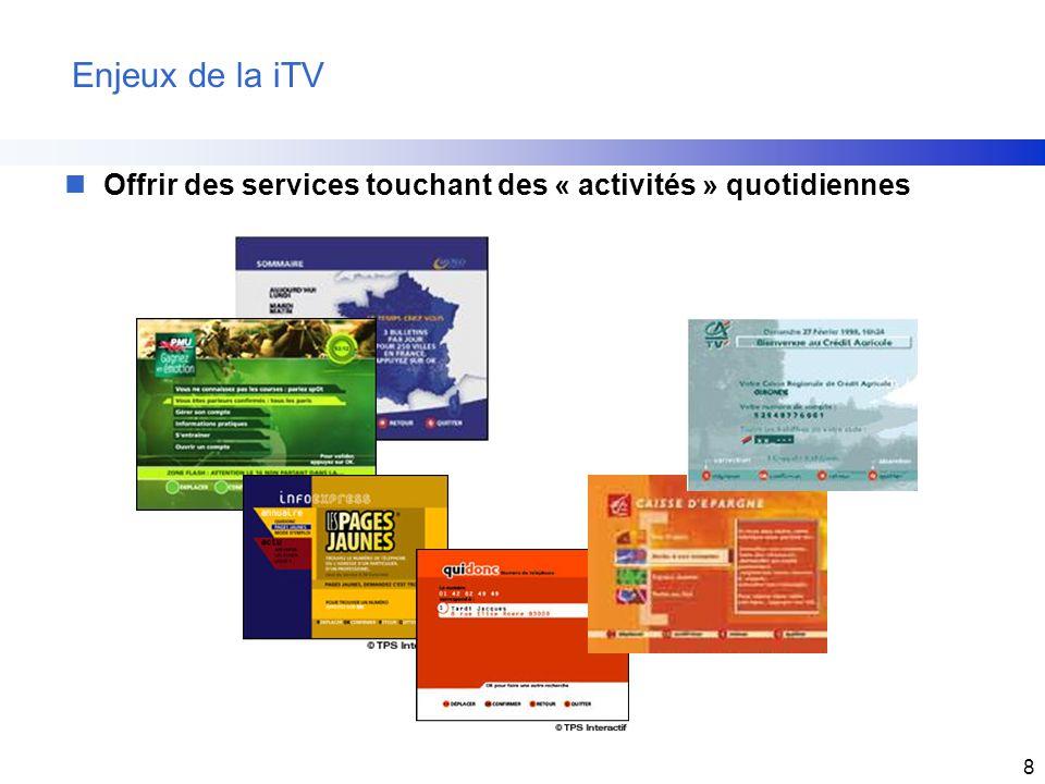 8 Enjeux de la iTV nOffrir des services touchant des « activités » quotidiennes