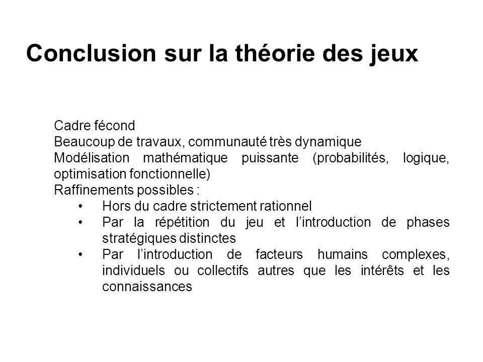 Conclusion sur la théorie des jeux Cadre fécond Beaucoup de travaux, communauté très dynamique Modélisation mathématique puissante (probabilités, logi