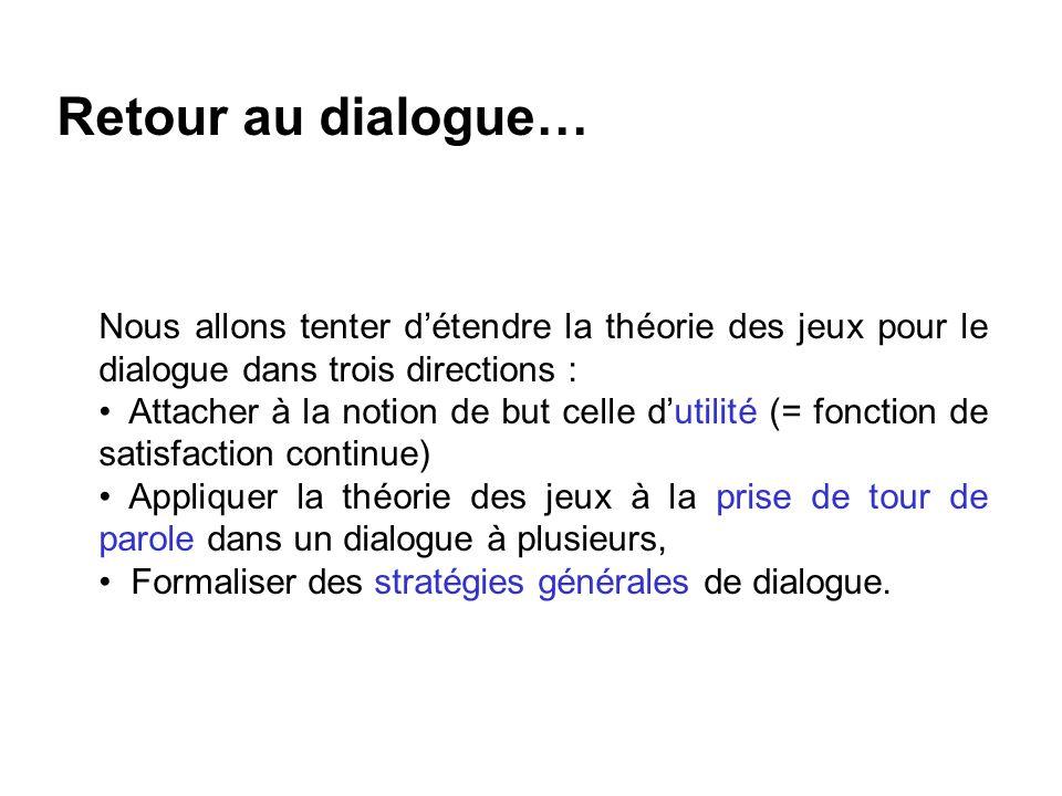 Retour au dialogue… Nous allons tenter détendre la théorie des jeux pour le dialogue dans trois directions : Attacher à la notion de but celle dutilit
