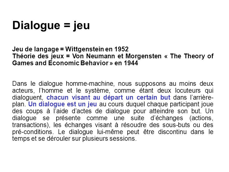 Gestion du dialogue Le « jeu de dialogue » est réglé par : des règles de choix de stratégies, des règles de comportement, un mécanisme de contrôle, des règles de reprise par des sous-dialogues, une ontologie de jeu (description des sous-jeux ou des étapes).