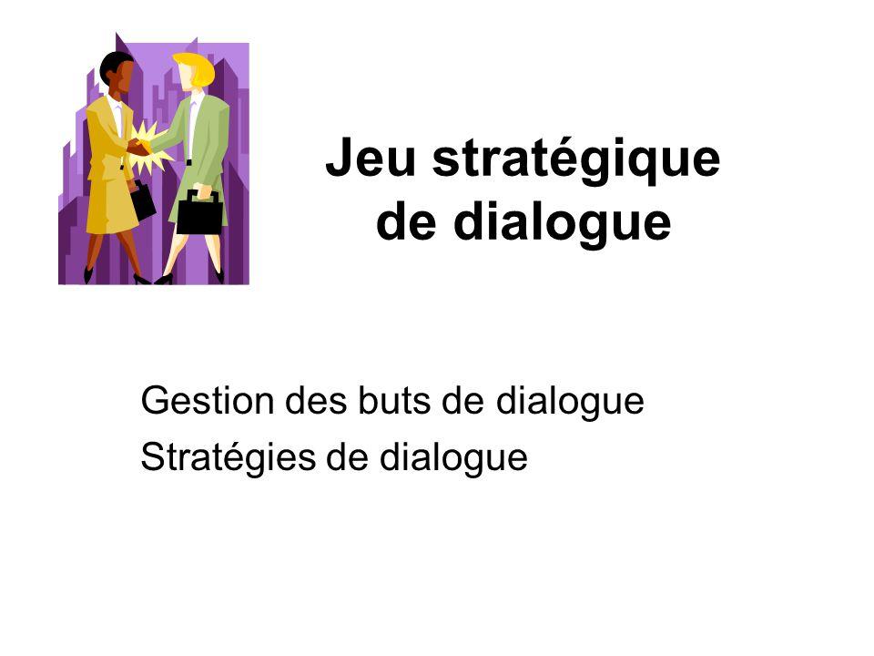 Jeu stratégique de dialogue Gestion des buts de dialogue Stratégies de dialogue