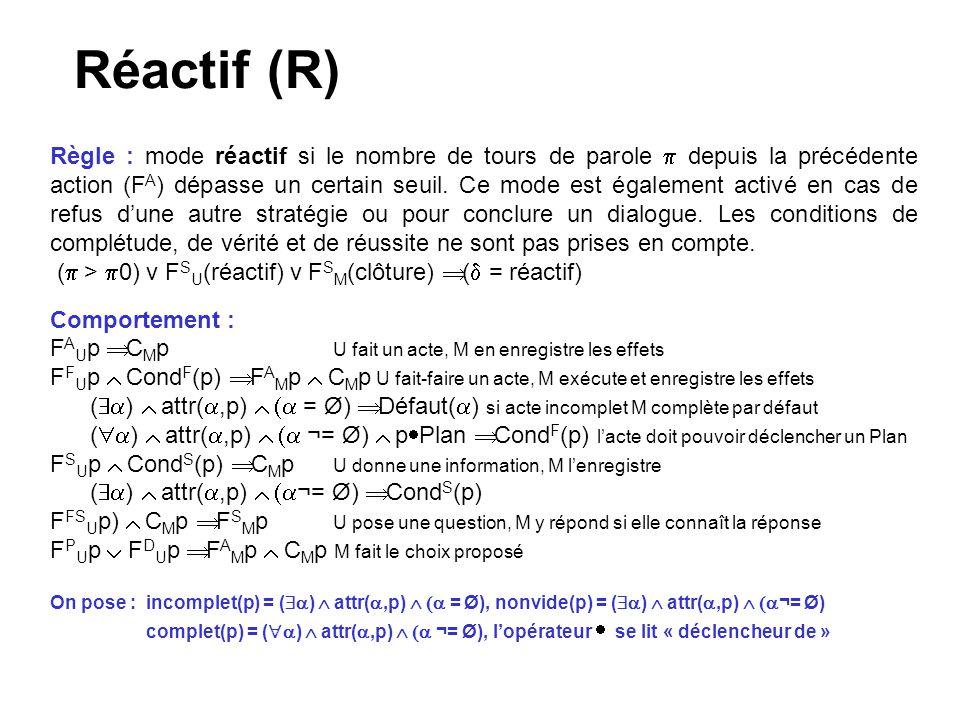 Réactif (R) Règle : mode réactif si le nombre de tours de parole depuis la précédente action (F A ) dépasse un certain seuil. Ce mode est également ac