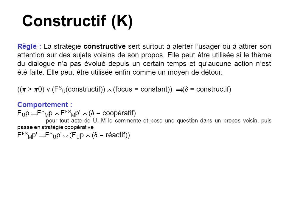 Constructif (K) Règle : La stratégie constructive sert surtout à alerter lusager ou à attirer son attention sur des sujets voisins de son propos. Elle