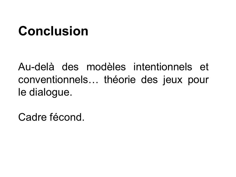 Conclusion Au-delà des modèles intentionnels et conventionnels… théorie des jeux pour le dialogue. Cadre fécond.