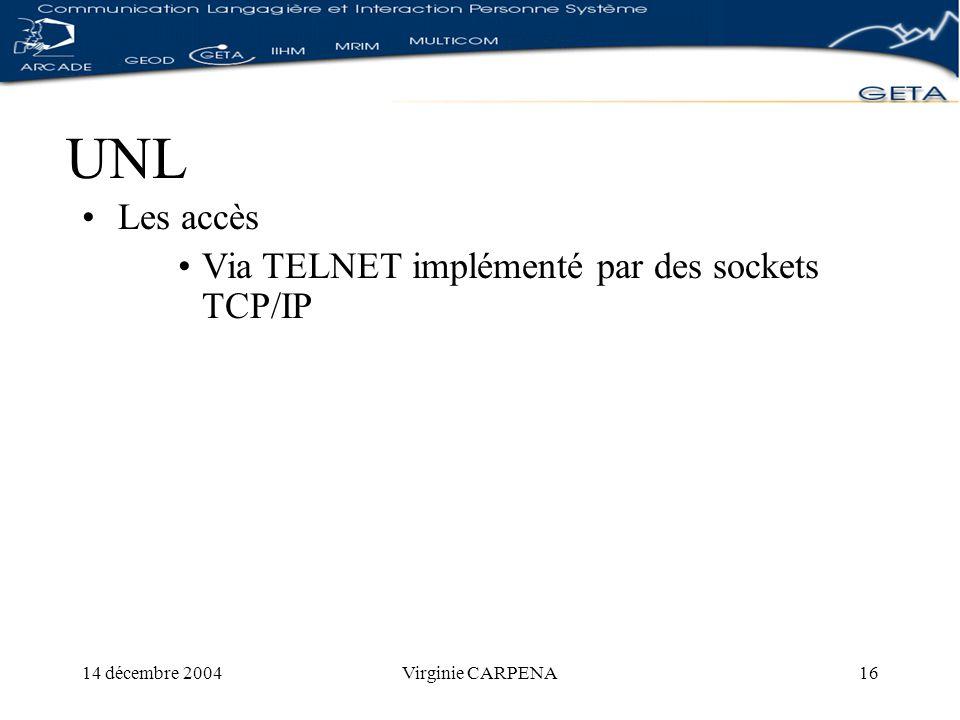 14 décembre 2004Virginie CARPENA16 UNL Les accès Via TELNET implémenté par des sockets TCP/IP