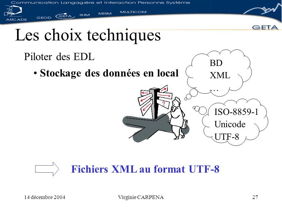 14 décembre 2004Virginie CARPENA27 Les choix techniques Piloter des EDL ISO-8859-1 Unicode UTF-8 Stockage des données en local Fichiers XML au format UTF-8 BD XML …