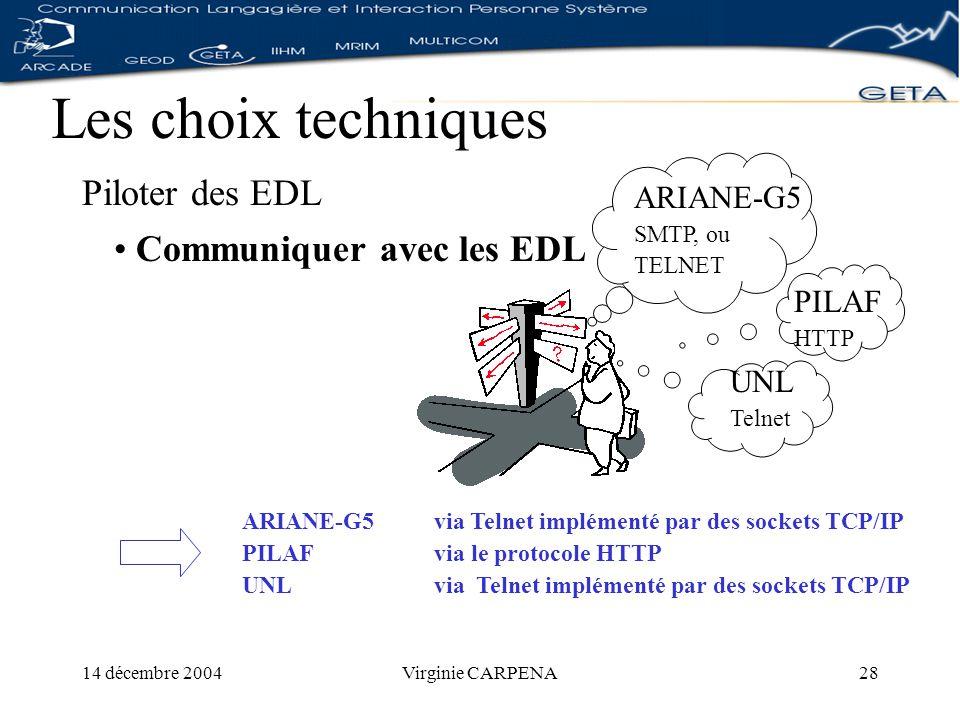 14 décembre 2004Virginie CARPENA28 Les choix techniques Piloter des EDL UNL Telnet Communiquer avec les EDL ARIANE-G5 via Telnet implémenté par des sockets TCP/IP PILAFvia le protocole HTTP UNLvia Telnet implémenté par des sockets TCP/IP ARIANE-G5 SMTP, ou TELNET PILAF HTTP