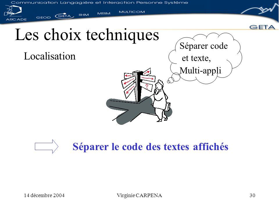 14 décembre 2004Virginie CARPENA30 Les choix techniques Localisation Séparer le code des textes affichés Séparer code et texte, Multi-appli