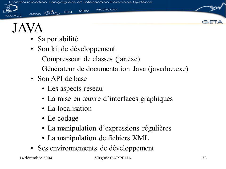 14 décembre 2004Virginie CARPENA33 JAVA Sa portabilité Son kit de développement Compresseur de classes (jar.exe) Générateur de documentation Java (javadoc.exe) Son API de base Les aspects réseau La mise en œuvre dinterfaces graphiques La localisation Le codage La manipulation dexpressions régulières La manipulation de fichiers XML Ses environnements de développement