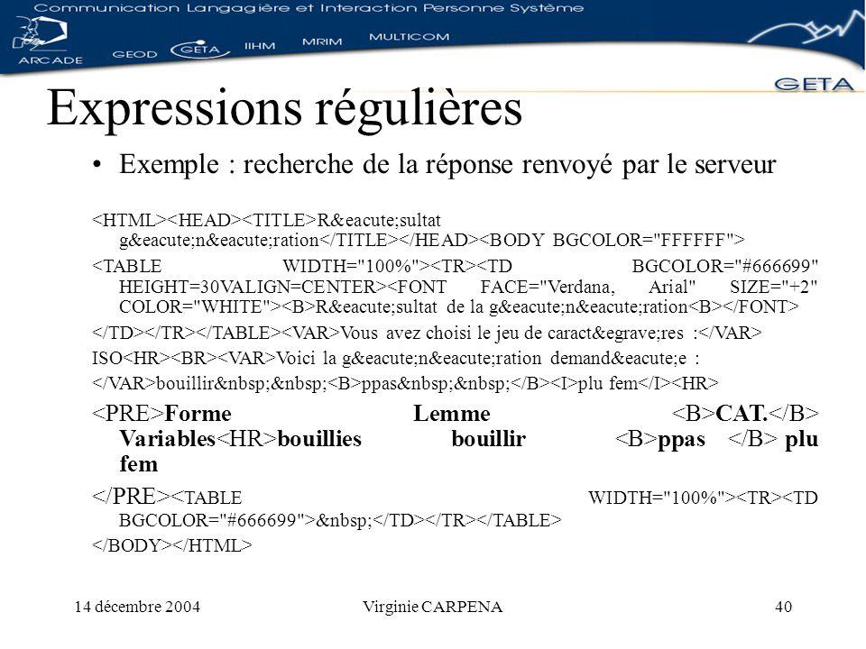 14 décembre 2004Virginie CARPENA40 Expressions régulières Exemple : recherche de la réponse renvoyé par le serveur Résultat génération Résultat de la génération Vous avez choisi le jeu de caractères : ISO Voici la génération demandée : bouillir ppas plu fem Forme Lemme CAT.