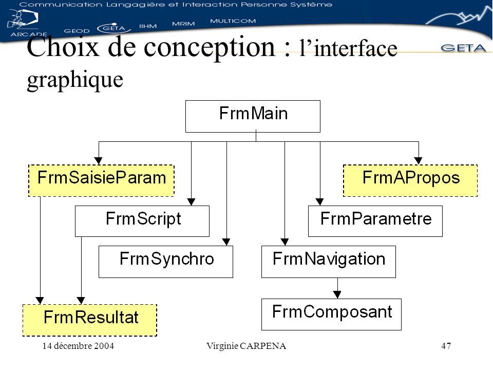 14 décembre 2004Virginie CARPENA47 Choix de conception : linterface graphique