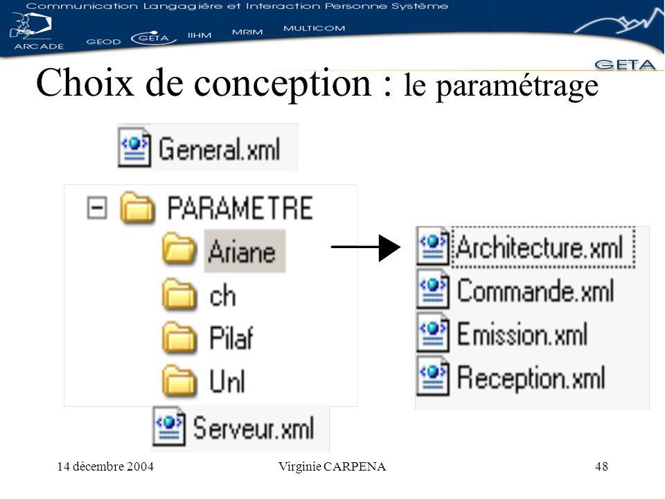14 décembre 2004Virginie CARPENA48 Choix de conception : le paramétrage