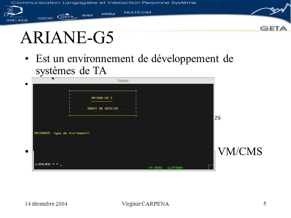 14 décembre 2004Virginie CARPENA5 ARIANE-G5 Est un environnement de développement de systèmes de TA 5 langages de haut niveau : LSPL ATEFanalyse morphologique ROBRAanalyse syntaxique et transfert TRACOMPLtransformations complémentaires EXPANSoutils dictionnaires SYGMORgénération morphologique Tourne sur une machine IBM-H30 sous VM/CMS