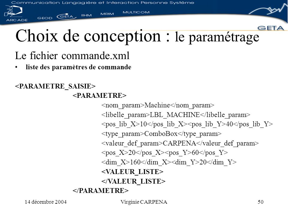 14 décembre 2004Virginie CARPENA50 Choix de conception : le paramétrage Le fichier commande.xml liste des paramètres de commande Machine LBL_MACHINE 10 40 ComboBox CARPENA 20 60 160 20