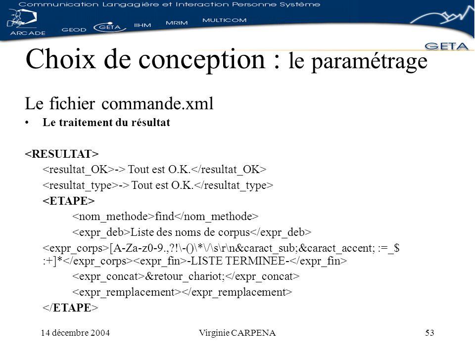 14 décembre 2004Virginie CARPENA53 Choix de conception : le paramétrage Le fichier commande.xml Le traitement du résultat -> Tout est O.K.