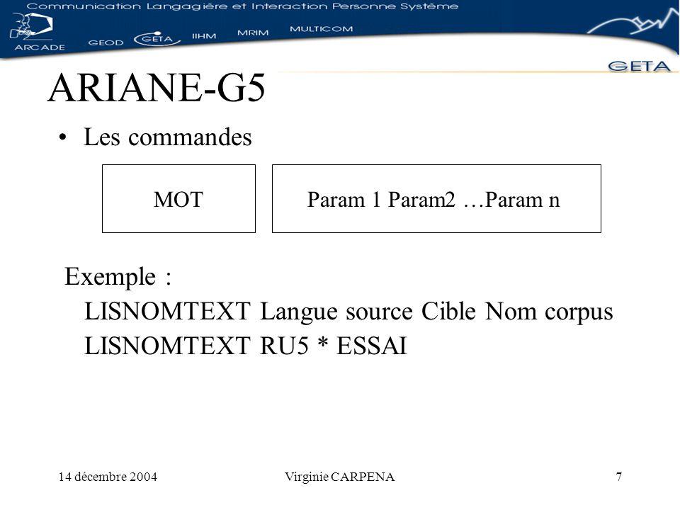 14 décembre 2004Virginie CARPENA8 ARIANE-G5 Les accès Via le courrier électronique (SMTP) En mode différé Via TELNET implémenté par des sockets TCP/IP En temps réel