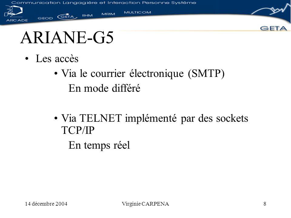 14 décembre 2004Virginie CARPENA59 Réalisation de WICALE Linterface de programmation fr.imag.clips.wicale.ihmFrmAPropos, FrmResultat, FrmSaisieParam fr.imag.clips.wicale.objetCommande, paramètre, paramètreCommande, serveur, syntaxe, valeurliste fr.imag.clips.wicale.serveurInterface Serveur Linguistique Serverhttp ServerSocket fr.imag.clips.wicale.utilConstante, Erreur, ExprReg,Fichier, Impression, Xml