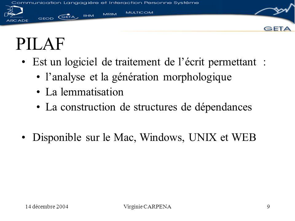14 décembre 2004Virginie CARPENA10 Données PILAF