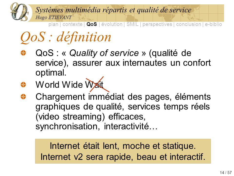 Systèmes multimédia répartis et qualité de service Hugo ETIEVANT 14 / 57 QoS : définition QoS : « Quality of service » (qualité de service), assurer a