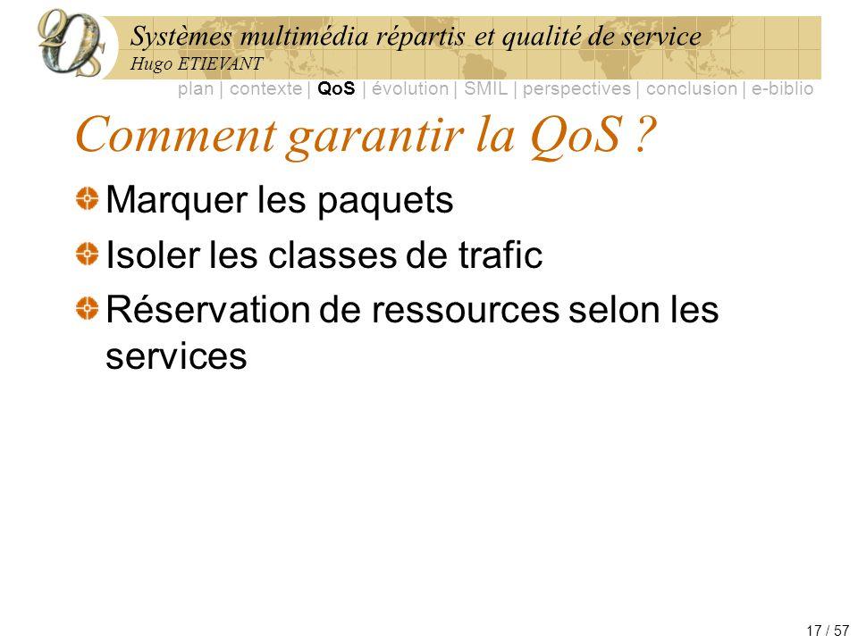 Systèmes multimédia répartis et qualité de service Hugo ETIEVANT 17 / 57 Comment garantir la QoS ? plan | contexte | QoS | évolution | SMIL | perspect