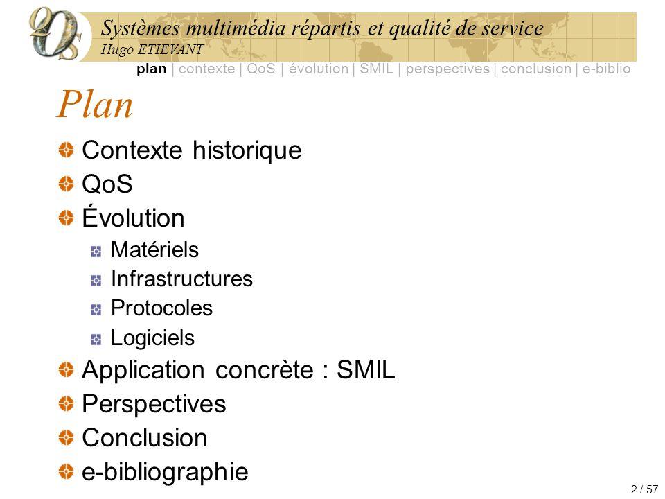 Systèmes multimédia répartis et qualité de service Hugo ETIEVANT 2 / 57 Plan Contexte historique QoS Évolution Matériels Infrastructures Protocoles Lo