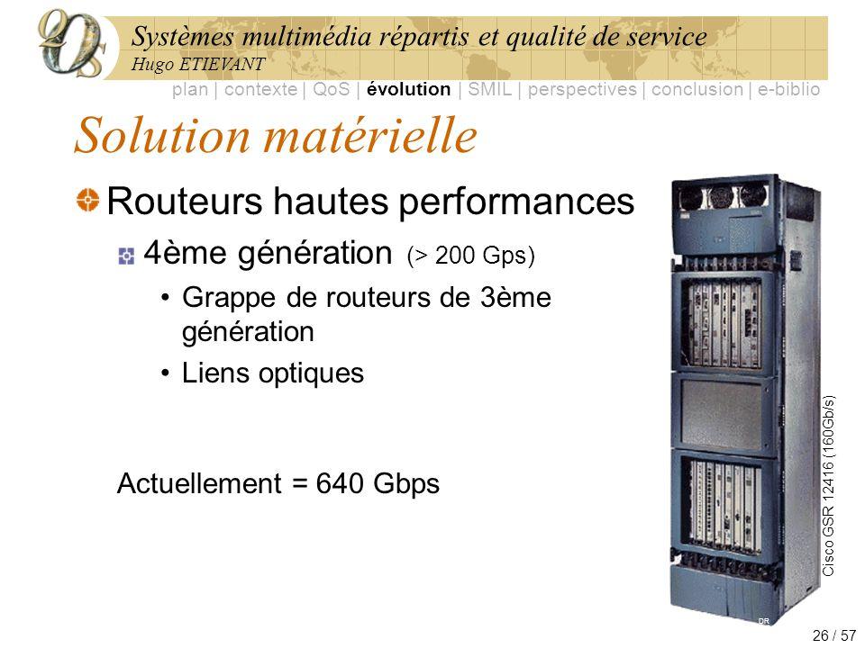 Systèmes multimédia répartis et qualité de service Hugo ETIEVANT 26 / 57 Solution matérielle Routeurs hautes performances 4ème génération (> 200 Gps)