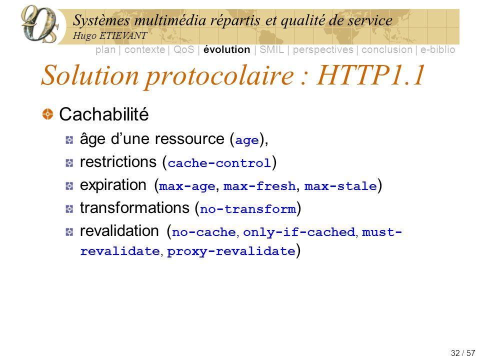 Systèmes multimédia répartis et qualité de service Hugo ETIEVANT 32 / 57 Solution protocolaire : HTTP1.1 Cachabilité âge dune ressource ( age ), restr
