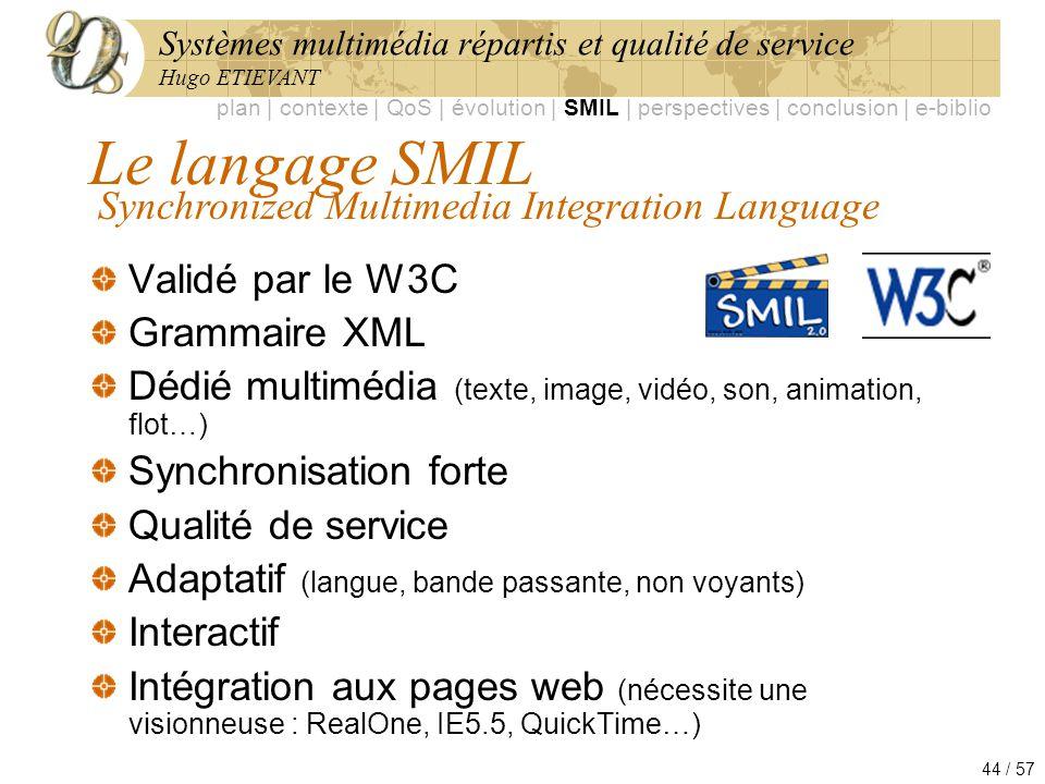 Systèmes multimédia répartis et qualité de service Hugo ETIEVANT 44 / 57 Le langage SMIL Validé par le W3C Grammaire XML Dédié multimédia (texte, imag