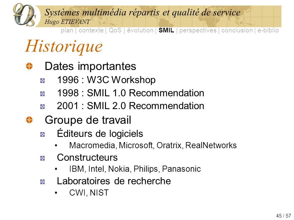 Systèmes multimédia répartis et qualité de service Hugo ETIEVANT 45 / 57 Historique Dates importantes 1996 : W3C Workshop 1998 : SMIL 1.0 Recommendati