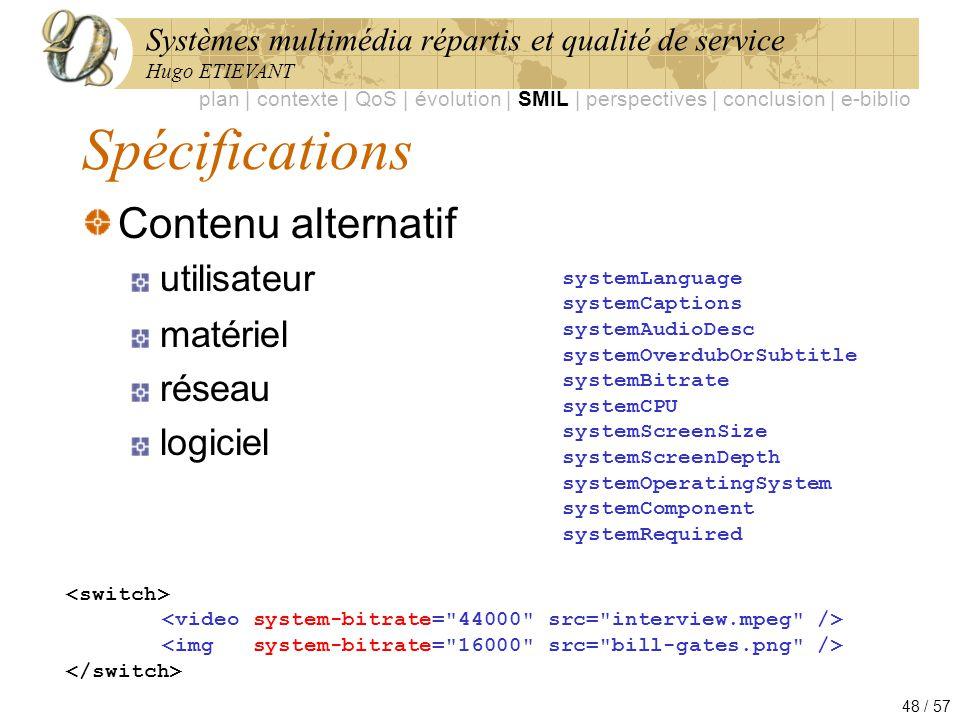 Systèmes multimédia répartis et qualité de service Hugo ETIEVANT 48 / 57 Spécifications Contenu alternatif utilisateur matériel réseau logiciel system